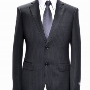 blue pinstripe 2 button suit